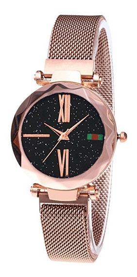 Moda Mulheres Elegante Luxo Céu Estrelado Relógio Quartzo