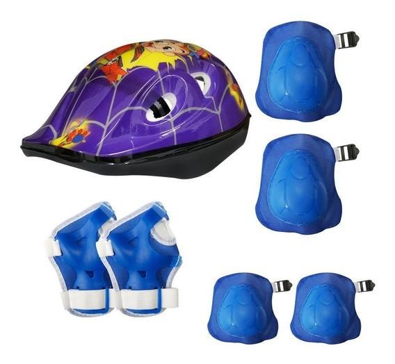 Kit Capacete + Proteção Infantil Bike Skate Patins Cores