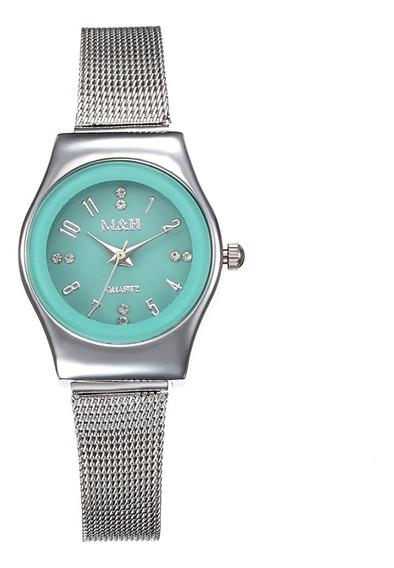 Moda Aço Inoxidável Malha Banda Relógio Mulheres Liga Caso
