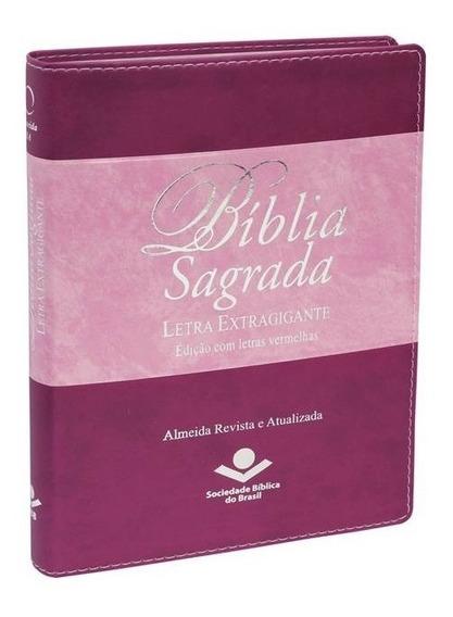 Bíblia Sagrada Letra Extragigante = Capa Uva E Rosa