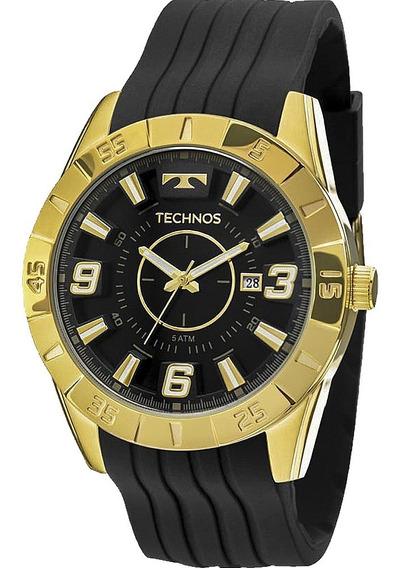 Relógio Masculino Technos Dourado Pulseira Silicone Original