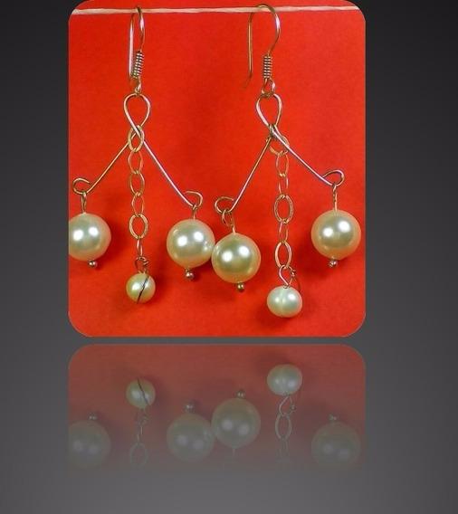 Aretes Diseño Candelabro De Perla Cultivada Y Plata Ley .925