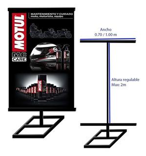Parante De Metal Con Banner Gigantografia