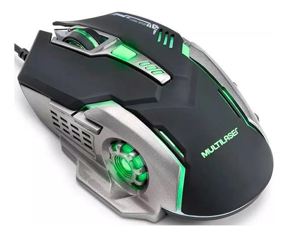 Mouse Gamer Multilaser 2400dpi 6 Botões Led Verde Mo269