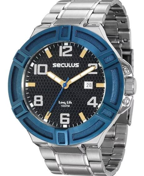 Relógio Masculino Seculus Long Life 10atm Prata Lançamento