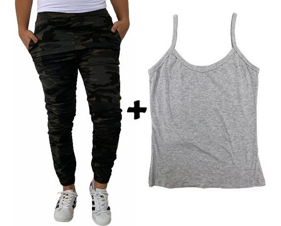 Calça Jeans Feminia Jogger Cos Elastico Camuflada + Blusa