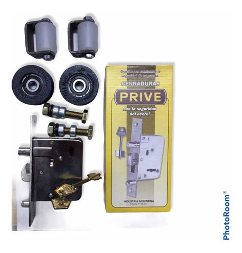 Kit Cerradura Prive Portón Corredizo/ruedas 50mm /guiadores