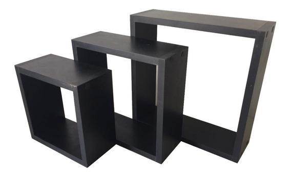 Nicho Decorativo Mdf Kit 3 Unidades Preto Já Vai Montado