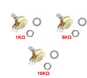 Kit Potenciômetro: 1k, 5k E 10k Linear Estriado 15 Mm Wh148