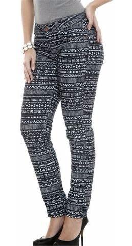Calça Feminina Jeans Estampa Tribal