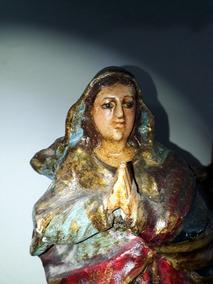 Nossa Senhora Da Conceição Antiga Em Madeira 29cm