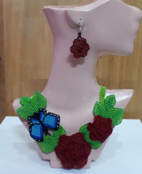 Collar De Flores Y Mariposa/artesanía Huichol