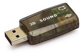 Placa De Som Áudio Externa Usb 2 Canais