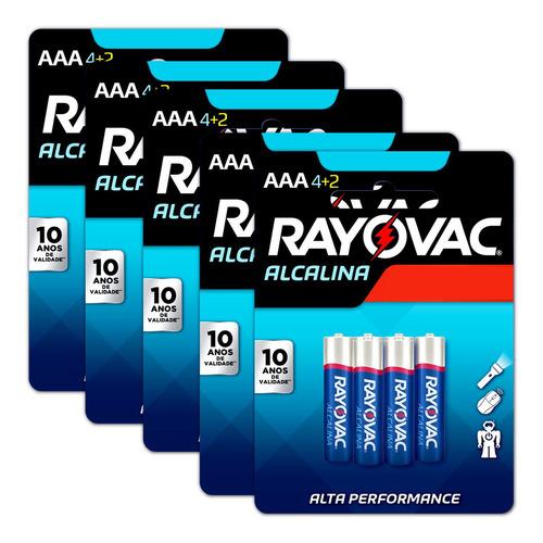 Imagem 1 de 8 de 30 Pilhas Aaa Palito Rayovac Alcalina 5 Cartelas C/ 6 Unid
