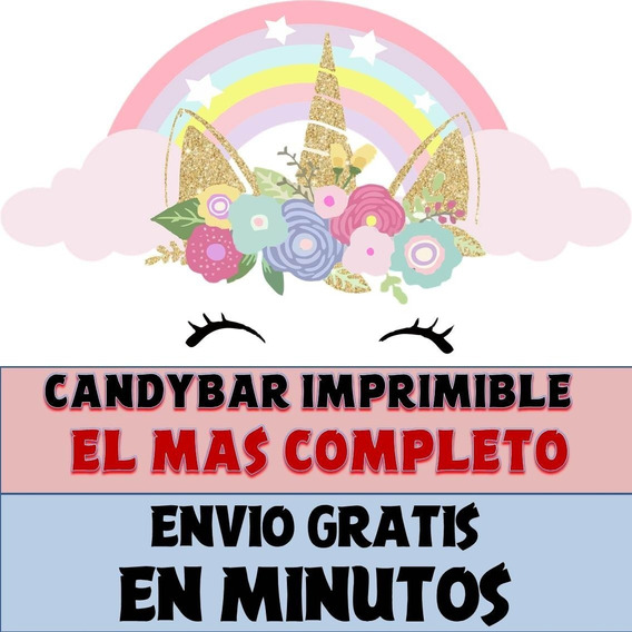 Kit Imprimible Candy Bar Unicornio Dorado El Mas Completo