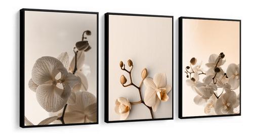 Quadro Decorativo Flores Orquídeas Tons Bege Novo Sala Casa