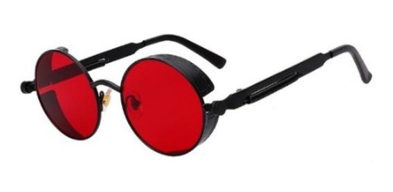 Óculos De Sol Redondo Haste Mola Retro Lennon Vintage Gótico