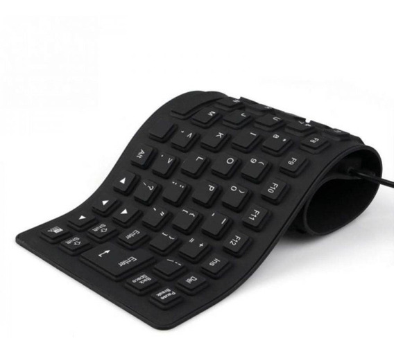 Teclado Flexível Silicone Usb Dobrável - Notebook Pc Table
