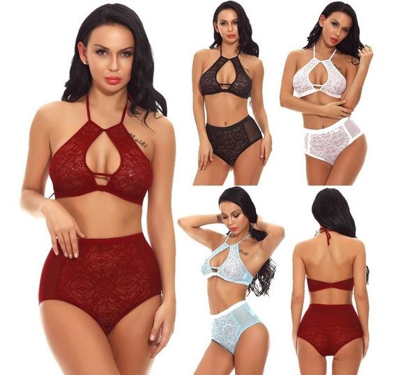 Mulheres Sexy Semi-sheer Lace Mesh Duas Pe?as Lingerie