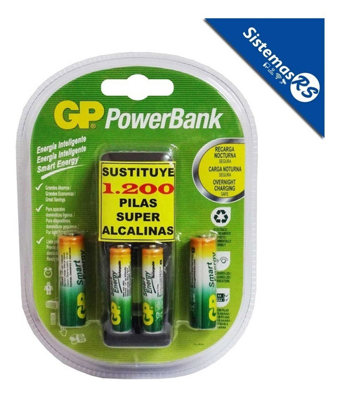Gp Cargador Aa/aaa Powerbank + 4 Baterias Pilas Recargables