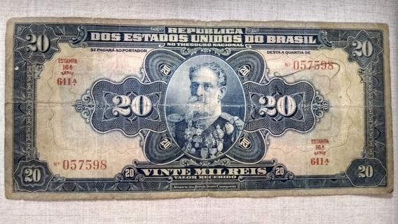 Cedula 20 Mil Reis Brasil Mbc Autografada