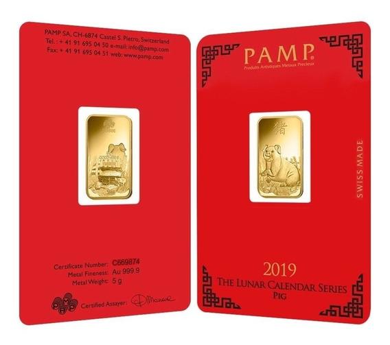 Robmar-lingote De Pamp 5 G. Oro Puro 0,999 De 24 K,-chancho