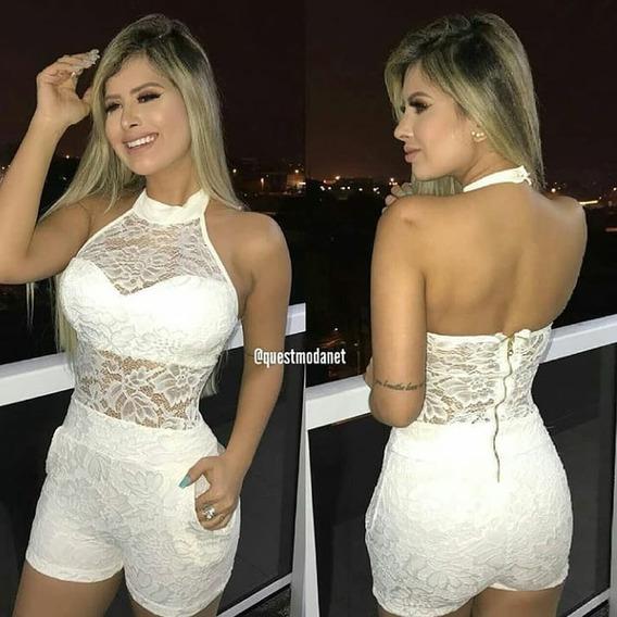 Macaquinho Feminino Renda Gola Alta Bolso C/ Bojo Lançamento