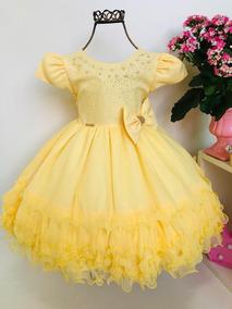 Vestido Infantil Menina Bonita Amarelo Princesa Luxo Renda