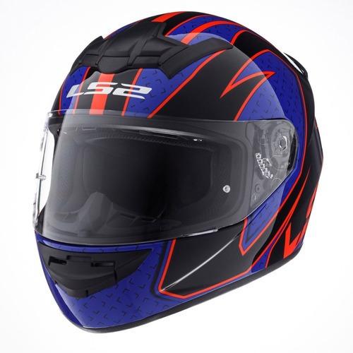 Casco Moto Ls2 352 Rookie Fire Azul Negro Rojo