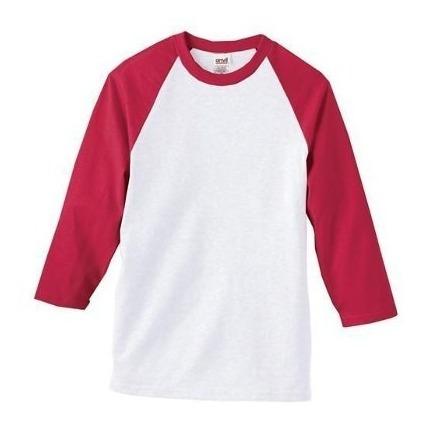 Playera Hombre Raglan Manga 3/4 Beisbol Skate Gildan Camisa