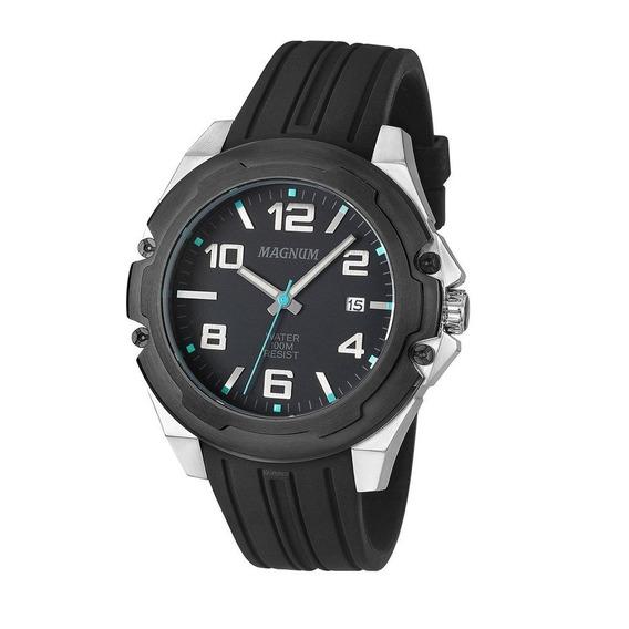 Relógio Magnum Masculino Analógico Silicone Preto Ma34487f