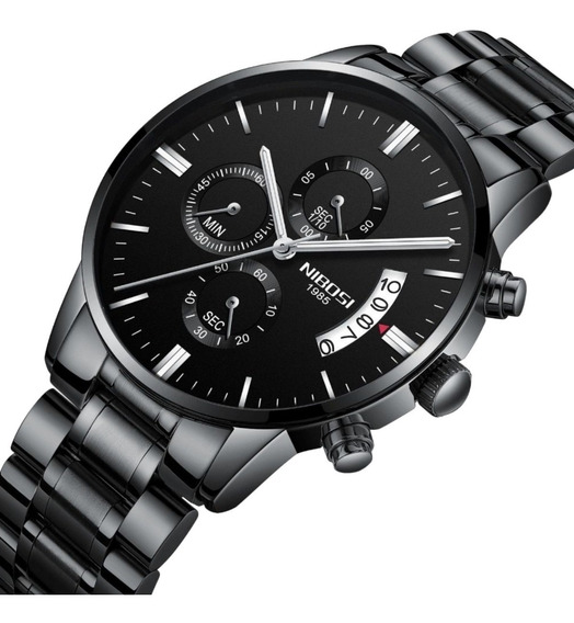 Relógio Nibosi 2309 Masculino Preto 100% Funcional + Caixa