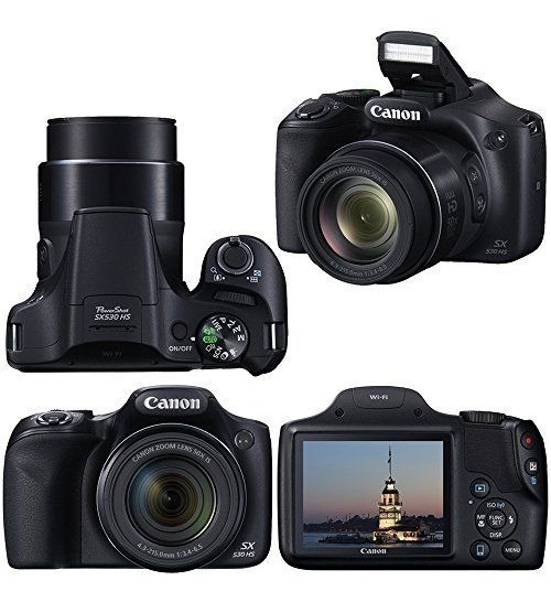 Câmera Canon Sx530 Hs Zoom 50x Wi-fi + Bolsa+ 32gb