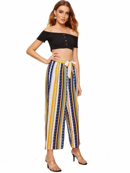 Pantalones Anchos Con Cinturón De Impresión Azteca - Mujer W