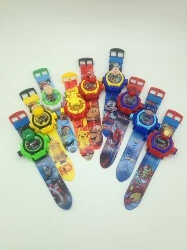 Kit 4 Relógios Digital Infantil Com Projetor De Luz Com Até 24 Imagens Super Heróis E Desenhos Da Tv
