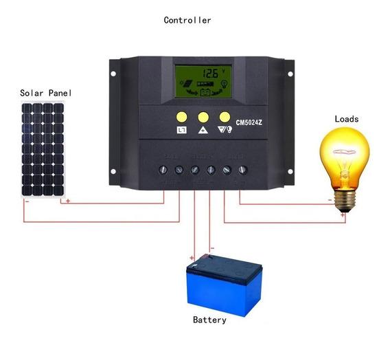 Controlador De Carga Solar Pwm 50a 12 /24v C/ Amperímetro