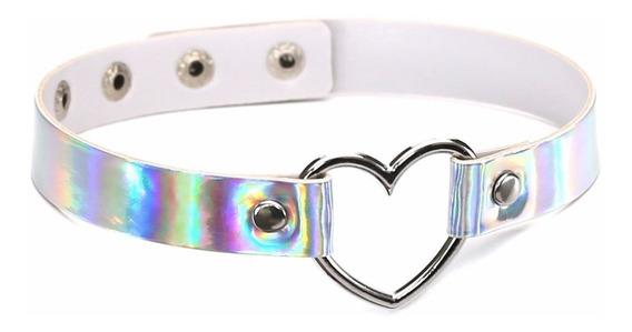 Coleira Colar Chocker Coração Branca Holográfica