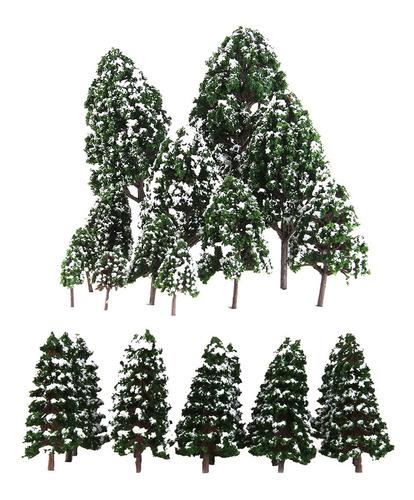 Imagen 1 de 12 de 32x Mini Modelos De Árbol De Nieve Color Verde Escala 1: