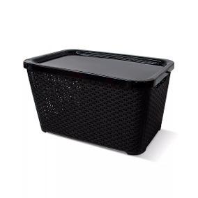 Canastos Organizador Plastico Apilable Rattan Grande + Tapa +gift - Colombraro