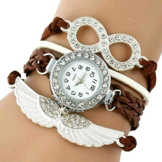 Relógio Anjo Eterno Com Strass Marrom Luxo - Envio Imediato