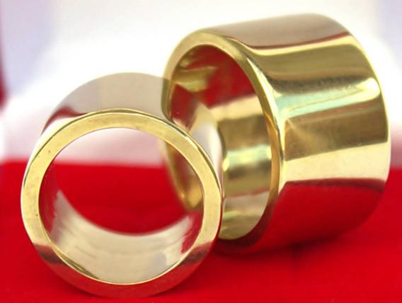 1 Par Alianças Ostentação 14mm Chapeada A Ouro 24k E Certif.