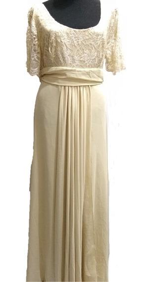 Vestido De Fiesta Gasa Y Encaje Talle Xl Sabah Desing