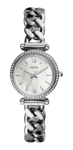 Reloj Dama Fossil Carlie Mini Es4689 Color Plateado De Acero
