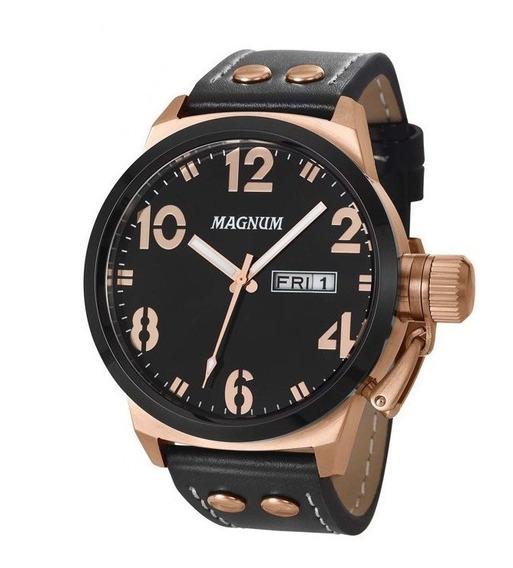 Relógio Magnum Masculino Couro Ma32783p Prova D´agua