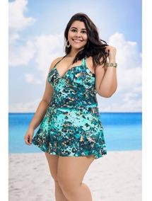 Maiô Estampado Com Saída De Praia Plus Size Verão 2019