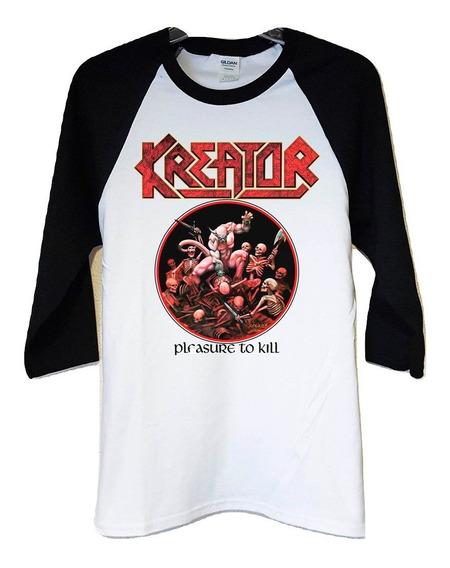 Polera 3/4 Kreator Pleasure To Kill Thrash Metal Abominatron