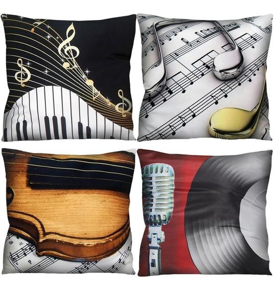 Kit 4 Capa De Almofada Guitarra Nota Musical 42x42 A Escolha