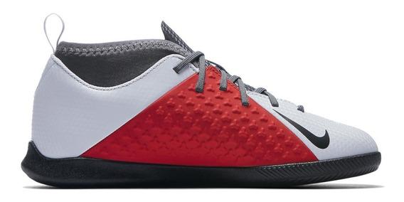Tenis Futsal Nike Jr Phantom Vsn Club Ic - Gelo/vermelho