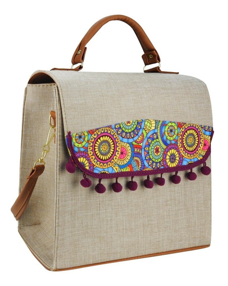Bolso Maletin Duro Fashion Pompones Mezclilla Mandala Color