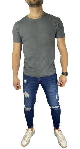 Imagen 1 de 5 de Pantalón Jeans Elasticado Semipitillo Rasgado Destroyed